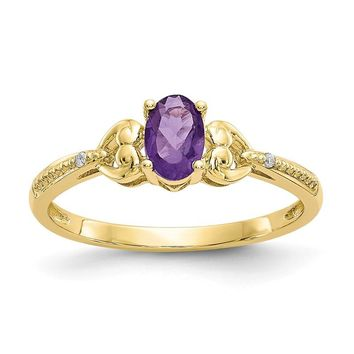 10k Yellow Gold Oval Genuine Amethyst Diamond Hearts Ring