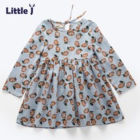 Little J Printed Pattern Baby Girls Dress Spring Autumn Casual Costume Girl Dresses Floral Bohemian Kids Clothes Vestidos