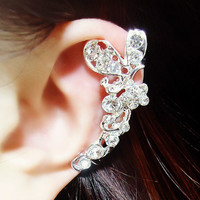 Butterfly and Blossom Wrapping Ear Cuff (Silver,Single,No Piercing)
