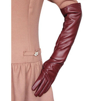 Women Ladies Opera Evening Party Gloves Faux Leather PU Over Elbow Long Glove 7 Colors PY6 SM6