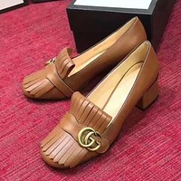 GUCCI Women Fashion Leather Thick Heel Heels Shoes 5CM