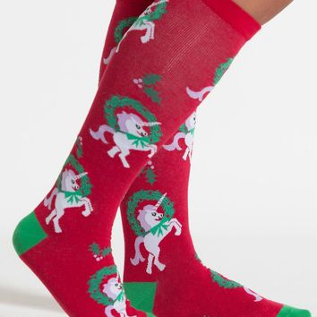 Horn for the Holidays Unicorn Women's Knee Socks by Sock It To Me