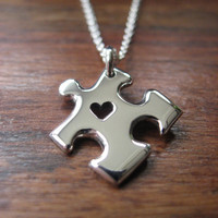 Miniature Puzzle Piece with Heart Silver Pendant Necklace