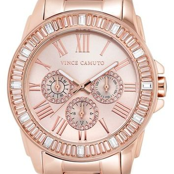 Vince Camuto Crystal Bezel Multifunction Bracelet Watch, 42mm | Nordstrom