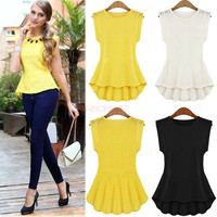 Women's Vintage Lace Peplum Frill Bodycon Tank Shirt Tops Blouse T-shirt SV000389 = 1645863876
