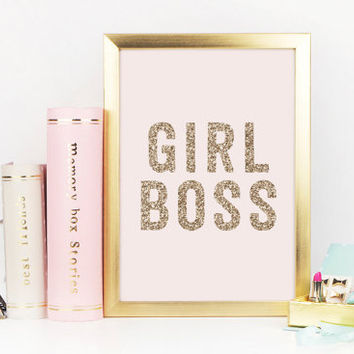 Girl Boss, Office Desk Decor, Desk Accessories, Girl Quote, Faux Glitter art, Inspirational Quote, Boss Lady, Girl Boss Print, Printable
