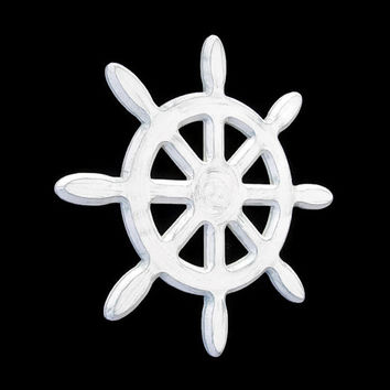 Captains Wheel Wall Decor distressed rustic nautical wall hanging hand painted in white and grey, custom colors, shabby ships wheel
