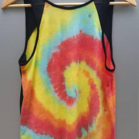Rainbow Tank Top Sporty Athletic Tie Dye, Women's US Size Small, Sheer Burn-Out Lightweight Fabric, Gift For Her, Tumblr, Festival Shirt