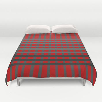Dark Red Striped Duvet Cover Red Duvet Cover Dark Red Black Gray Stripe Duvet Cover Geometric Duvet Cover Geometric Bedding Charcoal Gray