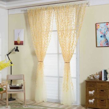 Tulle curtains Home Decor French Window Willow Voile Tulle Room Window Curtain Sheer Voile Panel Drapes Curtains for living room