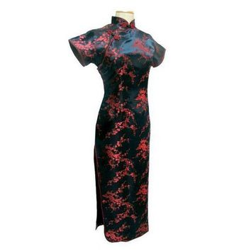 Tang Show Black Red Chinese Traditional Dress Women's Silk Satin Qipao Long Cheongsam Flower Plus size 4XL 5XL 6XL YQ2089