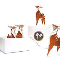 Deer Party , Origami Animal Deer , Wedding Decor , Cupcake Topper , Cake Topper , Paper Animal Fawn , Woodland Animal , Party Animal
