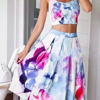 White Floral Printed Crop Top And High Waist Skater Skirt