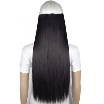 "TOPREETY Heat Resistant B5 Synthetic Fiber 24"" 60cm 120gr Silky Straight 5 clips on clip in hair Extensions"