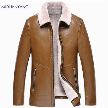 High Quality Faux Fur Men Thicken Coat Casual Men's  Faux Leather New Leather Jacket Overcoat