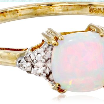 10k Yellow Gold, October BirthStone, Created Opal and Diamond Ring:Amazon:Jewelry