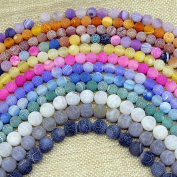 Matte Frosted Agate Bead Crackle Fire Agate Bead Round Stone 6 mm 8 mm 10mm 12 mm Pink Green Blue Gold Color etc
