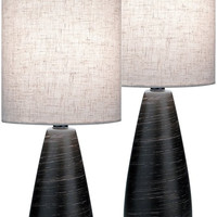 0-015090>Quatro II 2-Light Set of 2 Mini Table Lamp Brushed Dark Bronze