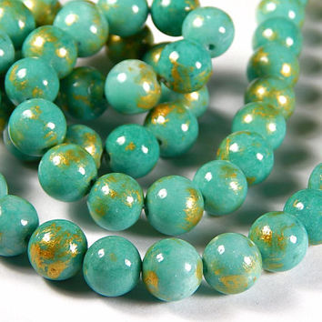 16 Inch Strand - 10mm Mashan Jade Round Beads - Turquoise And Gold - Gold Dust - Gemstone Beads - Jewelry Supplies