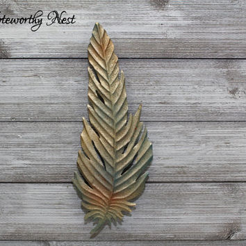 ANY COLOR Large Feather Wall Decor / Feather Wall Art / Gold Turquoise Feather / Feather Wall Hanging / Rustic Feather Decor // Gallery Wall