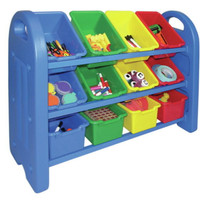 Three-Tier Toy Organizer Rack With 12 Single Bins Rounded Edges Blue Plastic New