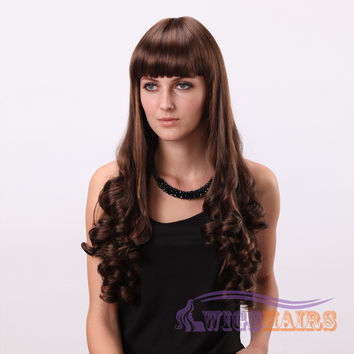 "26"" Long Curly with Bangs Synthetic Wigs for Women Basic Cap Auburn"