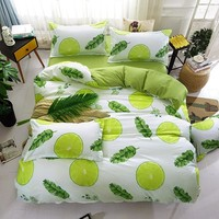 Green lemon Winter Bedding Sets Full King Twin Queen King Size 4Pcs Bed Sheet Duvet Cover Set Pillowcase Without Comforter