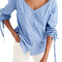 Madewell Morningview Stripe Tie Sleeve Shirt | Nordstrom