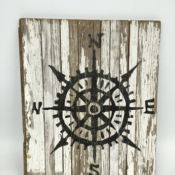Compass, Compass Sign, Beach Wall Decor, Coastal Wall Decor, Nautical Sign, Cottage Chic Decor