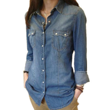Women's Denim Button Up