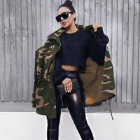 Women's Fashion Camouflage Zippers Jacket [129075871769]