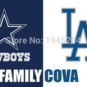 Dallas Cowboys Los Angeles Dodgers Family COVA Flag Banner New 3x5ft 90x150cm Polyester 9821, free shipping