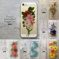 Disegno Mixed Style Pressed Real Dry Flower Bling Floral Hard Skin Case Cover