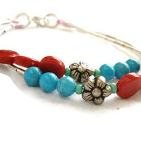 Multi Layer Bracelet, Red and Turquoise Beaded Bracelet, Silver Flower Bracelet, Stackable Layering Bracelet