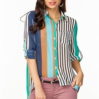 A'GACI Long Sleeve Multi Stripe Chiffon Shirt - New Arrivals