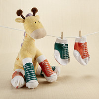 """Herbie in Hightops"" Plush Giraffe and 2 Pair of Socks"