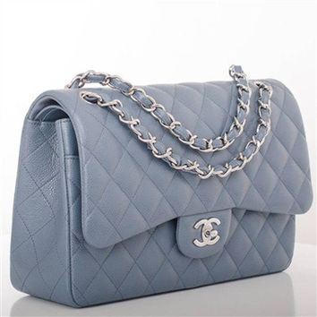 Chanel Steel Grey Blue Quilted Caviar Leather Jumbo Double Flap Bag Full Set