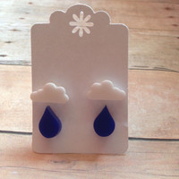 Cloud and Raindrop Earrings, Rainy Day Earrings, Lasercut Acrylic Earrings, Christmas Gift