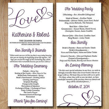 "DIY Wedding Program Template - Eggplant Plum Purple ""Love"" Heart Printable - Tea Length Program - Order of Service - Calligraphy Program"