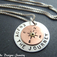 graduation gift for her sterling silver compass necklace inspirational jewelry enjoy the journey