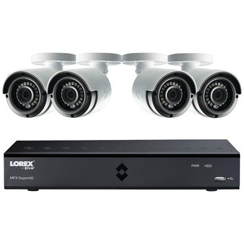 Lorex By Flir 8-channel Mpx Hd 1tb Dvr With 4 Weatherproof Ir Cameras