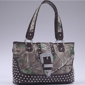 Realtree Camo Studded Tote Bag with Buckle Accent - 51287