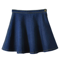 Dark Blue High Waist A-line Skater Skirt