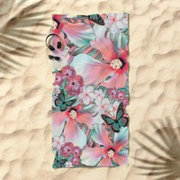 Peachy Mint Hibiscus Tropical Beach Towel by ninamay