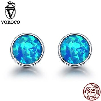 VOROCO Genuine 925 Sterling Silver Minimalist Simple Round Blue Fire Opal Stone Unique Stud Earrings Women Jewelry Brinco VSE090