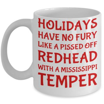 Holiday Christmas Mug Gift For Redhead Mississippi Girls - Xmas Inspiration Gift For Her, Mom, Grandma, Sister, Girlfriend - 11oz White Ceramic Cup for Cocoa, Coffee, Tea, Cookies & Ginger Bread