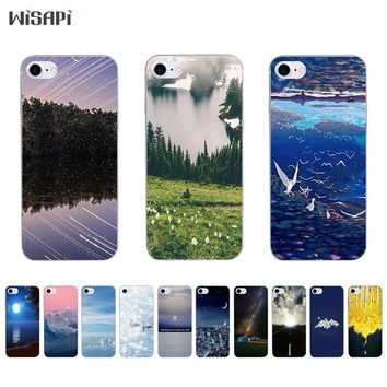 Silicone Case For iPhone 7 7plus 8 X 10 Shell for iPhone 5s 5c SE 6 6s 6plus Case Transparent TPU Bumper Road Landscape Phone