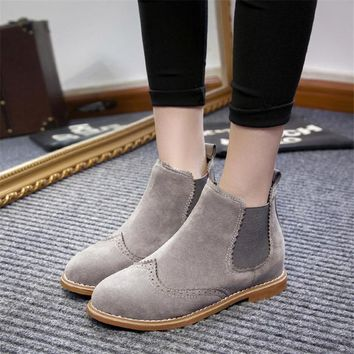 COOTELILI Brand Women Ankle Boots Flat Heels Shoes Woman Suede Leather Boots Brogue Cut outs Slip on Black Gray Plus Size 40
