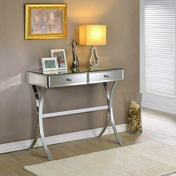 Mirror paneled hall console table with x shaped legs and drawers