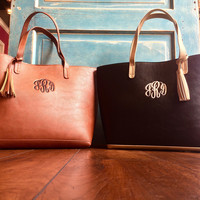 Aubrey Monogrammed Purse in Black